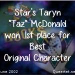 Awards - Summer 2002 - Best OC (1st Place) - Taz McDonald