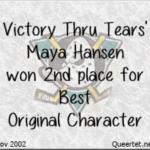 Awards - Winter 2002 - Best OC (2nd Place) - Maya Hansen